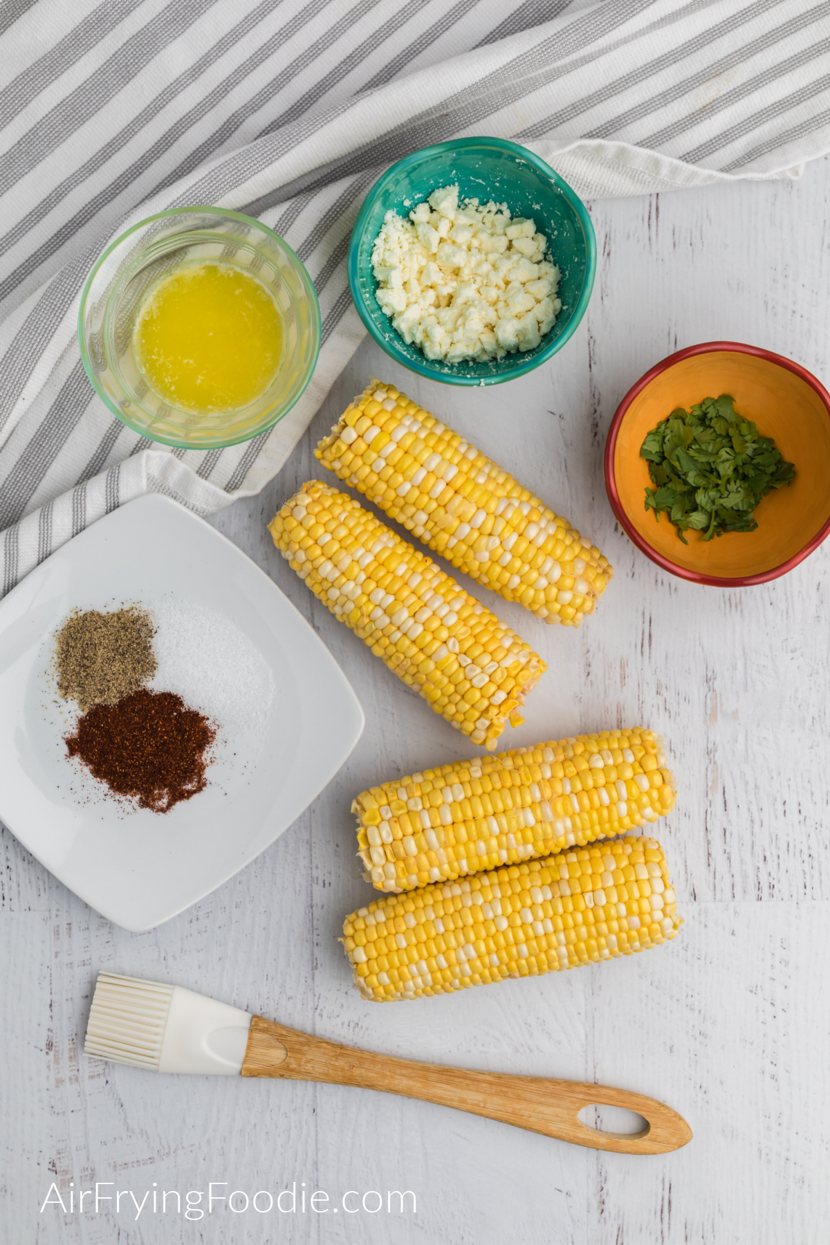 Ingredients needed to make mexican street corn in the air fryer.