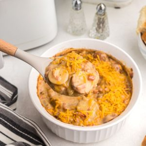 Spoonful of cheese ham and potato casserole over a white dish