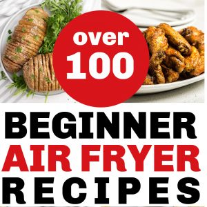 Collage of photo with words stating over 100 beginner air fryer recipes.